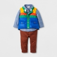 Baby Boys' Puffer Vest, Shirt and Pants Set - Cat & Jack Chambray NB, Blue