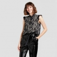 Women's Short Sleeve Cascade Lace Blouse - Who What Wear Black/white Lace