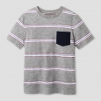 Boys' Stripe Printed Pocket T-Shirt Cat & Jack - Navy Voyage L, Blue
