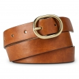 Merona Women's Solid Belt with Gold Buckle - Brown L