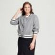 Women's Plus Size Varsity Bomber Jacket - Who What Wear Grey, Size 1x