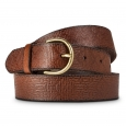 Merona Women's Solid Belt with Gold Buckle - Dark Brown L