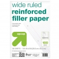 up & up Wide Ruled Reinforced Filler Paper - 8.5 in. x 11 in. - 100 sheets