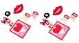 2 Pack Embroidered Appliqué Patch Lips Heart Xo Xo Dog Sticker 8 Pc