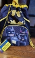 "Lego Batman 16"" Cinch Backpack Drawstring Bag Black/yellow Front Zip Pocket"