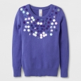 Girls' Pullover Long Sleeve Sweater - Cat & Jack Purple XL