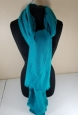 Womens Solid Teal Blanket Scarf Wrap Shawl Cover Up Frayed Edge Peacock Blue
