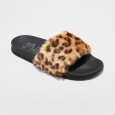 Women's Mad Love Phoebe Fur Slide Sandals - Brown 11, Leopard