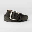 Men's 32mm Fabric Strap Belt With Faux Leather Tabs - Goodfellow & Co. Black M