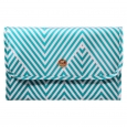 Dabney Lee Aqua Chevron Valet Makeup Bag, Lite Blue