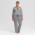 Women's Plus Size Hanes Premium Henley & Pants Pajamas Set - Black 3X