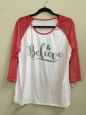 Zoe+liv Women's Believe 3/4 Sleeve Raglan Graphic Tee Shirt Cream Sz Xl