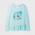 Girls' Long Sleeve Look On The Bright Side Graphic T-Shirt - Cat & Jack Aqua XS,