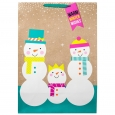 Snowman Family on Faux Kraft Gift Bag Jumbo - Wondershop, Green