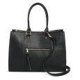 Women's Tote Handbag With Zip Front Pocket Hand Straps And Removable Cross Body