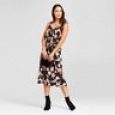 Women's Floral Satin Slip Dress - A Day Black Xs