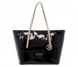 GUESS Delaney Medium Classic Tote ( Black Patent)