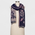 Women's Floral Jacquard Scarf - A New Day Navy (Blue) One Size