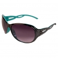 Women's Oval Sunglasses with Bling Twist Temples - Black/Turquoise