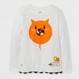 Girls' Toca Boca Cat Graphic Long Sleeve T-Shirt - Cream S, White