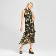 Who What Wear Women's Tiered Ruffle Layered Sheer Midi Dress Floral Black Sz S