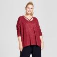 Women's Plus Size Long Sleeve Cozy T-Shirt - A New Day Burgundy 2X, Red