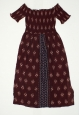 Junior Women's Smocked Off The Shoulder Midi Dress - Berry - Size:xs