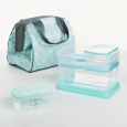 Fit & Fresh Charlotte Lunch Kit - Aqua Stamp Rings, Blue