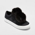 Mossimo Women's Abbie Slip On Sneakers With Faux Fur Pompom Black - Size:1