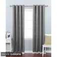 Aurora Home Faux Linen Grommet Top Border Detail 84-inch Curtain Panel Pair (As Is Item)