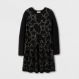 Girls' Jacquard Star Long Sleeve Sweater Dress - Cat & Jack Black XL