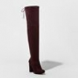 A Day Women's Penelope Heel Over The Knee Boots - Burgundy - Size:7.5