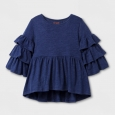 Girls' 3/4 Sleeve Feminine Ruffle Top - Cat & Jack Blue XL