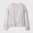 Girls' Sweater Knit Top - art class Ivory L