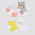 Baby Girls' 4pk Rainbow Crew Socks - Just One You Made by Carter's Yellow/Gray 0