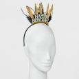 Women's Skinny Metal Head Band with Feathers and Glittered Happy New Year - Char