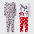 Baby Girls' 4pc Disney Minnie Mouse Pajama Set - White 12M