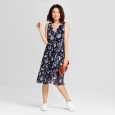 Women's Floral Chiffon Midi Dress - A Day Blue Xs