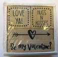 4 Wooden Valentine's Day Classroom Rubber Stamps Teacher Supply Love Ya Card