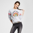 Women's Good Vibes Graphic Pullover Sweatshirt - Mighty Fine (Juniors') Gray XS