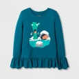 Girls' Long Sleeve During Winter Graphic T-Shirt - Cat & Jack Teal XL, Blue