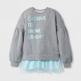 Girls' Tunic Sweatshirt - Cat & Jack Gray/Aqua (Gray/Blue) XS
