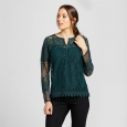Women's Lace Henley Top - Knox Rose Forest Green Xxl
