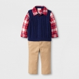 Baby Boys' 3-Piece Flannel, Sweater Vest and Pants Set - Cat & Jack Plaid/Blue/K