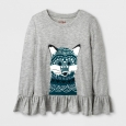 Girls' Long Sleeve Fox Graphic T-Shirt - Cat & Jack Heather Gray XS
