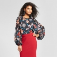 Women's Long Blouson Sleeve Blouse - Who What Wear Black Floral XS