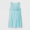 Girls' Pleated Velvet Dress - Cat & Jack Aqua XL, Green