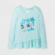 Girls' Long Sleeve Look On The Bright Side Graphic T-Shirt - Cat & Jack Aqua M,