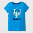 Girls' Hanukkah Celebrate T-Shirt - Cat & Jack Blue XL(14-16)