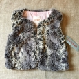 Cat & Jack Girls Vest Size Xs 4/5 Dusty Gray Faux Fur Fall Polyester Cotton